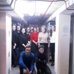 Е.А. Лесникова и Т.С. Амелина с группой студентов в архивохранилище